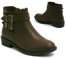 Ladies Womens Brown Low Block Heel Buckle Chelsea Ankle Boots Shoes Booties Size