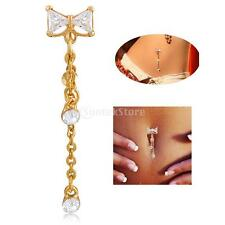 Beauty Zircon Bow-knot Dangle Navel Belly Button Ring Bar Body Piercing Jewelry