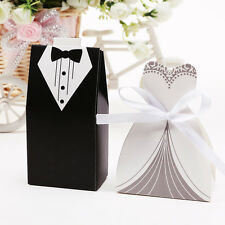 180x Wedding Bride Groom Tuxedo Ribbon Dress Party Favor Boxes Gift Wrap Bags