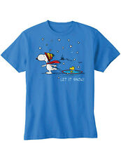 NEW NWT Snoopy Let It Snow T-Shirt Winter Scene w/ Woodstock On Saucer