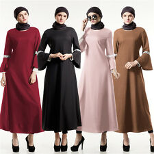 Muslim Islamic Kaftan Women Abaya Arab Long Sleeve Dress Cocktail Party Maxi