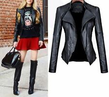 Turn-down Collar Pu Leather Material Winter Wear Solid Jacket for Women