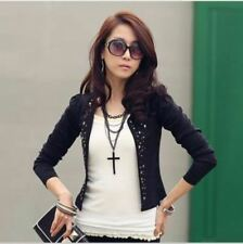 Women Spring New Arrival Short Rivet Decorated Slim Solid Casual Jacket
