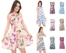 NEW Ladies Women's Sleeveless Flower Floral Skater Dress UK Size 8-24 Plus Sizes