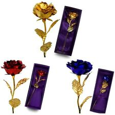 24K Gold Plated Foil Rose Flower Valentine's Day Birthday Romantic Gift With Box