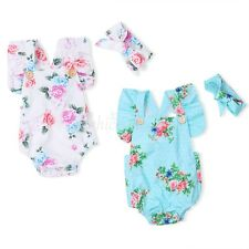 Infant Baby Girls Floral Ruffled Romper Bodysuit Jumpsuit Sunsuit Outfit Clothes