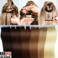 Long Seamless Tape in Remy Real 100% Human Hair Extensions Skin Weft BIG SALE US