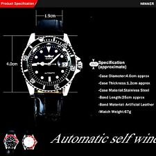 Mens automatic watch genuine leather auto date sport luxury self wind mechanical