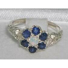Victorian Ladies Solid Sterling Silver Natural Fiery Opal & Sapphire Daisy Ring