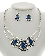 FILIGREE necklace set in blue or red with silvertone    14 inch adj.