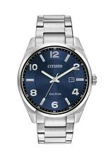 Citizen Eco Drive Mens Stainless Steel Dress BM7320-52L Blue Dial Date Watch