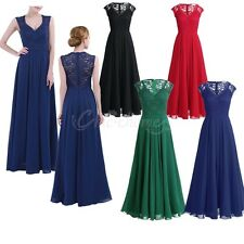 Women Lace Evening Dress Long Formal Prom Wedding Bridesmaid Cocktail Party Gown