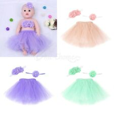 Newborn Baby Girls Tulle Tutu Skirt + Flower Headband Outfits Photo Prop Costume