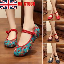 UK Women Soft Embroidery Chinese Style Flat Mary Janes Casual Ballet Shoes Size