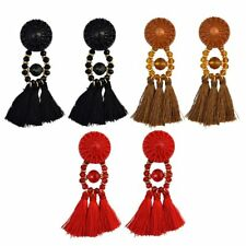 New Bohemian Long Tassels Fringe Beaded Dangle Stud Earrings Women Lady Jewelry