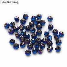 50 Piece Plating Blue Crystal Glass Faceted Beads DIY Jewelry Findings 4-8mm