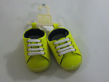 NWT Baby Gap Boys 0-3 Months Yellow Patent Crib Sneakers Shoes Loafers Soft Sole