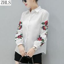 Embroidery Print Turn-down Collar Long Sleeve Casual Blouse For Women