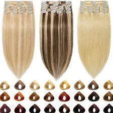 UK SELLER Clip in Human Hair Extensions Full Head 100% Real Remy Human Hair Sale
