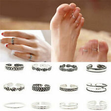 3 Sets(4 pc) Celebrity Jewelry Retro Silver Adjustable Open Toe Ring Finger Foot