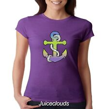 Neon Anchor Fitted Shirt Ocean Boat Ship Pirate Deep Sea Water JUNIORS Tee