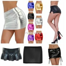Sexy Womens Lingerie Patent Leather Shiny Wetlook Mini Skirt Clubwear Nightwear