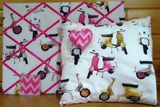 Next Scooter Design Hand Made Notice Board,Cushion Cover, Coaster, Hanging Heart