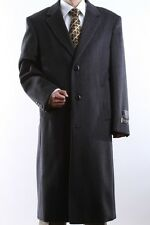 MEN 3 BUTTON WOOL CASHMERE FULL LENGTH CHARCOAL TOPCOAT , L40913C-40916-CHA