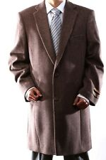 MENS 3 BUTTON LIGHT BROWN WOOL CASHMERE 3/4 LENGTH TOPCOAT, L40913R-40918-LBR