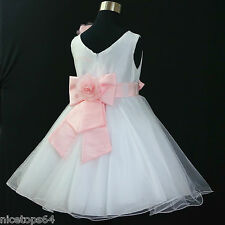 Girl Pinks Christening Pageant Flower Girls Dresses SIZE 1,2,3,4,5,6,7,8,10,12T