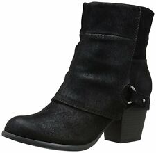 Fergalicious Liza Ankle Booties Boots Black Size 8 WIDE $79 SUEDE FABRIC