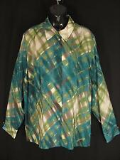 Jones New York Silk Blouse Plus Size 22W Green Blue Artsy Plaid Shirt Sheer