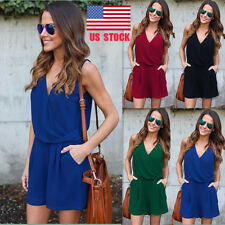 US Women's Chiffon Wrap Deep V Casual Beach Mini Dress Jumpsuit Playsuit Romper