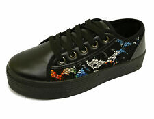 LADIES BLACK LACE PLATFORM CREEPERS CASUAL WEDGE PUMPS TRAINERS SHOES SIZES 3-8