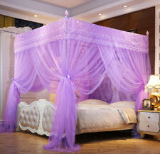 Purple Princess 4 Corner Post Bed Canopy Mosquito Netting Twin Queen King Sizes