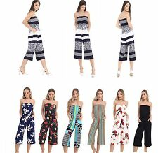 Womens Ladies Multi Print Bandeau Cropped Culotte All In One Jumpsuit Plus Size