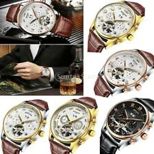 KINYUED Mens Automatic Mechanical Skeleton Wristwatch Genuine Leather Strap Band