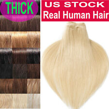 Real THICK 160g++ Double Weft Clip In Remy 100% Human Hair Extensions Full Head