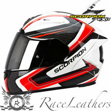 SCORPION EXO2000 CARB RED WHITE BLACK FULL FACE MOTORCYCLE MOTORBIKE HELMET