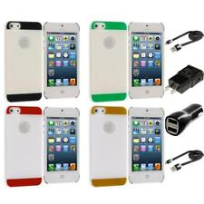 Color Crystal Hard Snap-On Ultra Thin Case Cover 2X Chargers for iPhone 5 5G 5S