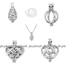 1Pc Fashion Locket Copper Plated Silver Hollow Openable Pendants Alloy Necklaces