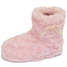 GIRLS CHILDRENS KIDS FLAT PINK PULL-ON FLUFFY SLIPPER BOOTS BOOTIES SHOES 6-11
