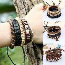 Handmade Leather Bracelet Multilayer Bangle Boho Wood Bead Retro Unisex Jewelry