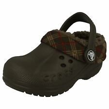 Boys Crocs Chocolate Slip On clog Blitzen Winter Plaid Kids Infant C 6-7