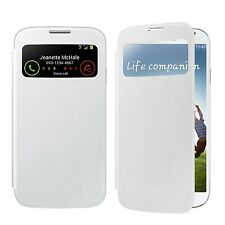 SAMSUNG GALAXY S4 BLACK OR WHITE BOOKFLIP CASE VIEW WINDOW PU LEATHER CASE COVER