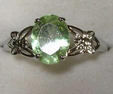 925 STERLING SILVER SOLITAIRE FAUX GREEN AMETHYST CUBIC ZIRCONIA RING  SZ 7