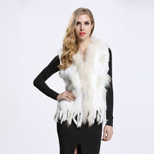 Luxury Tassel 100% Real Knitted Rabbit Fur Coat Raccoon Fur Collar Vest V0001