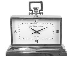 SIR WILLIAM & SMITH NICKEL PLATED ALUMINIUM STAINLESS STEEL TABLE CLOCK 42 cm