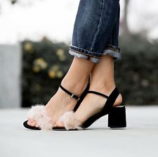 Zara Black Faux Fur Vamp Sandals Shoes Size UK 5, 6