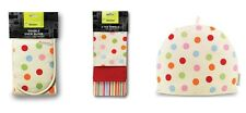 Cooksmart Spots Spotty Oven Glove ,Tea Cosy & Pack 3 Tea Towels Home Ware